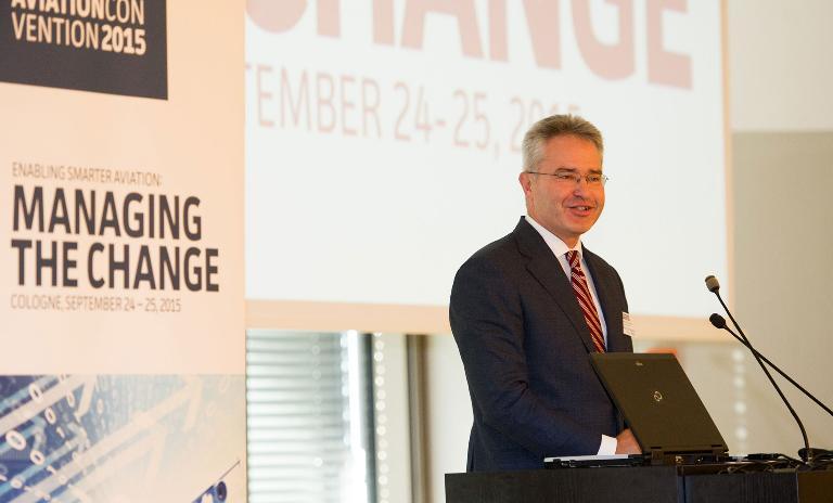 Roland Berger Senior Partner Martin Streichfuss speaking at the Aviation Convention in Cologne.