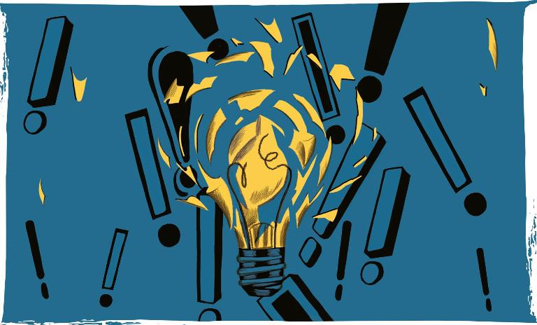 An illustration of a breaking lightbulb with exclamation points behind it
