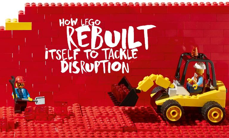 A construction-themed Lego set with three Lego people working to build a wall, symbolizing the company's growth and challenges