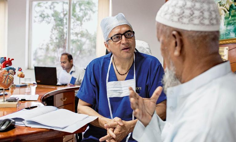 A hands-on approach: Shetty interacts with patients and performs at least one surgery every day.