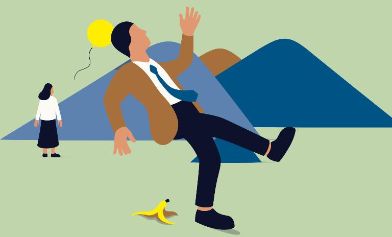 An illustration of a man slipping on a banana peel
