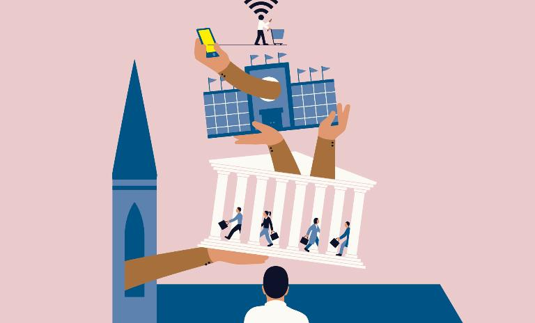 The evolution of commerce depicted by an illustration of hands holding a temple, cathedral and shopping mall with an internet shopper at the top.
