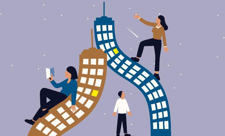 An illustration of people leaning against and climbing bending skyscrapers