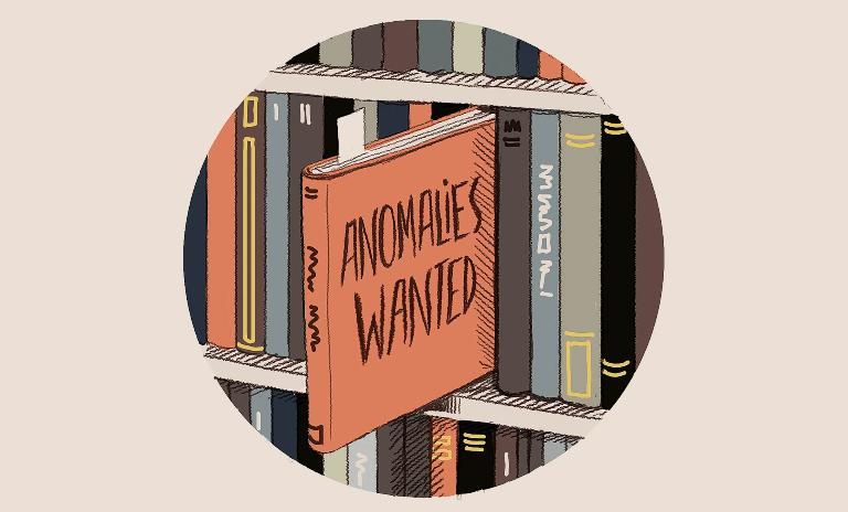 "An illustration of a book titled ""Anomalies Wanted"" being pulled from a shelf"