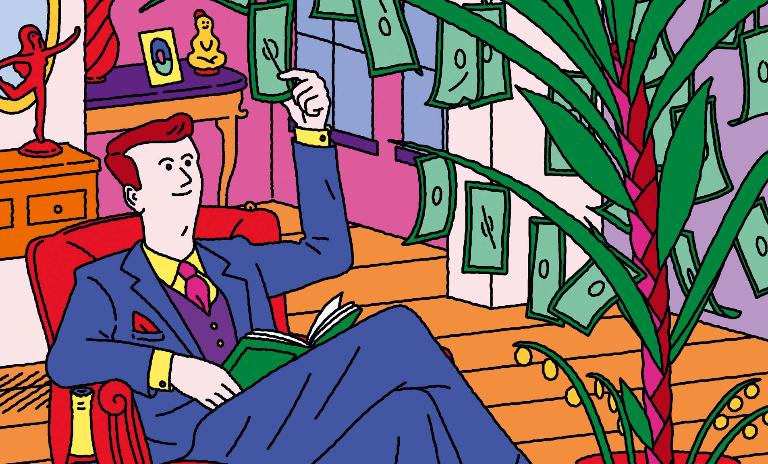 An illustration of a man in a suit picking money from a large house plant
