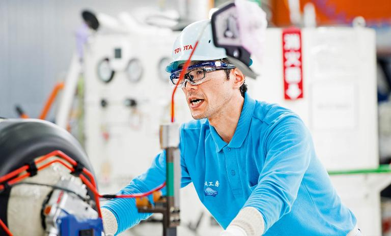 Built to innovate: A Mirai production line team member repositions tools that have been designed to move on the factory floor.