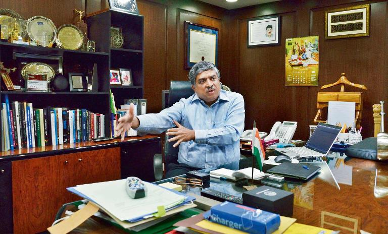 Between two worlds: Nandan Nilekani was able to bring experience leading one of India's premier IT companies to the public sector.