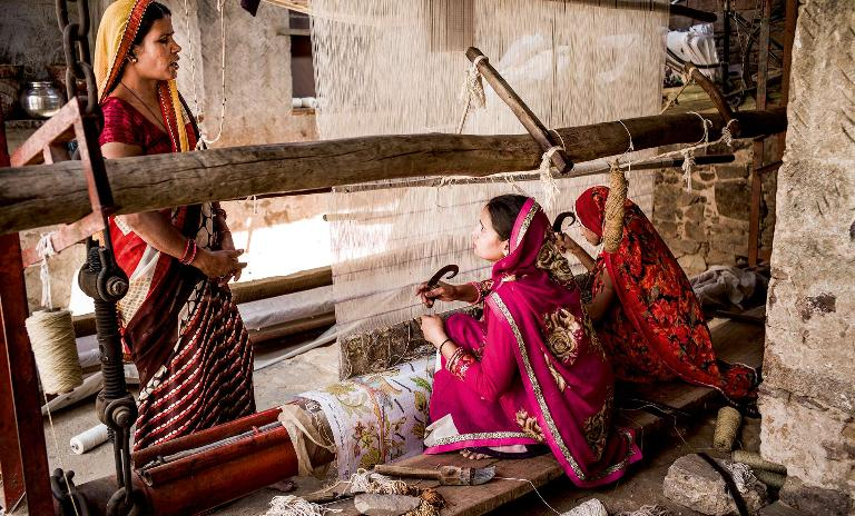 "Tools of the trade: Jaipur Rugs delivers yarn and other raw materials directly to artisans in nearly 600 villages across rural India. The company calls its model ""doorstep entrepreneurship""."
