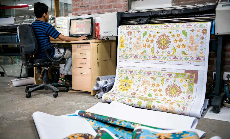 The perfect print: The patterns for the carpets are created using computer-aided design (CAD) at the company's headquarters in Jaipur.