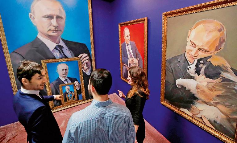 "Carefully curated: Thirty Russian artists contributed a piece illustrating Putin's ""unique popularity"" to the SUPERPUTIN exhibition at Moscow's Museum of Ultra-Modern Art in 2017."