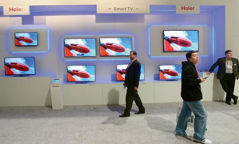 The Haier booth at CES 2013 at the Las Vegas Convention Center.