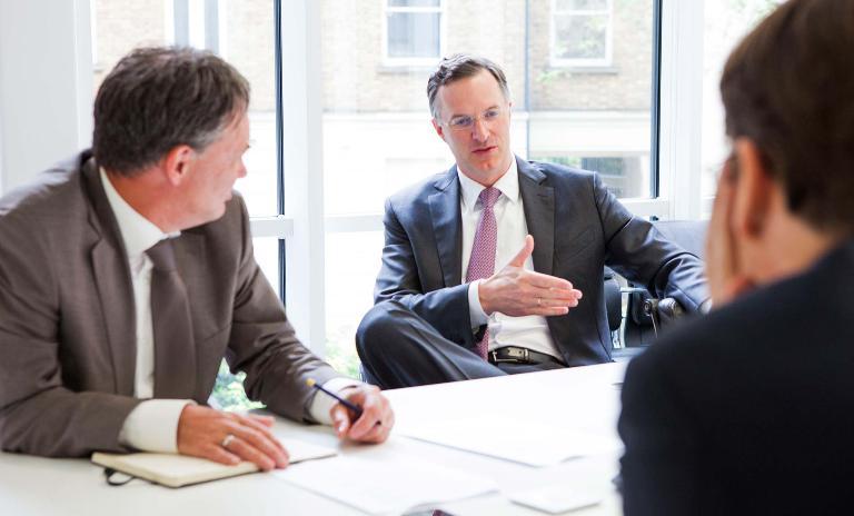 Discussion: (right to left) Jim Farley, Senior Partner Marcus Berret, Editor Paul Entwistle