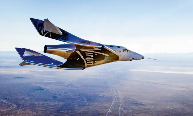 Gilding toward the goal: The Virgin Spaceship Unity on its first glide test over the Mojave Desert in December 2016.