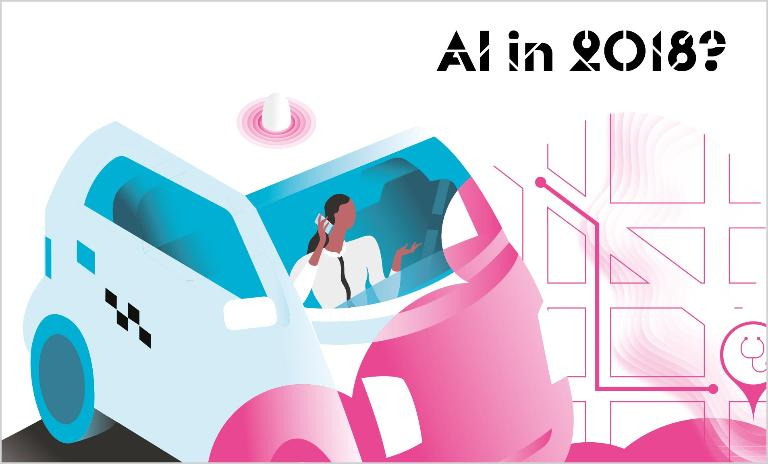 Digital PA: Amanda orders a driverless taxi to get to an early doctor's appointment. Her AI assistant set up the appointment based on her work patterns.